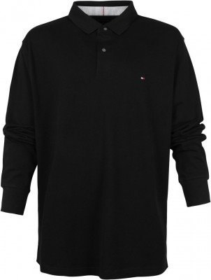 Tommy Hilfiger Tommy Hilfiger Big and Tall Long Sleeve Poloshirt Zwart