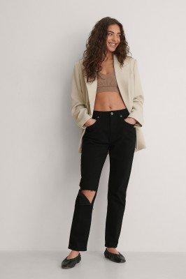 Jasmin Azizam x NA-KD Jasmin Azizam x NA-KD Rechte Jeans Met Hoge Taille - Black