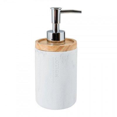 Xenos Zeepdispenser marmer - wit - 18.5 cm hoog