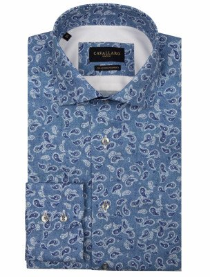 Cavallaro Napoli Cavallaro Napoli Heren Jeans - Cavallaro Napoli Heren Korte Broek - Benito Overhemd - Blauw - Blauw