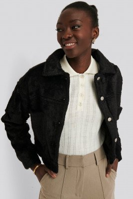 NA-KD Trend Hairy Faux Fur Jacket - Black