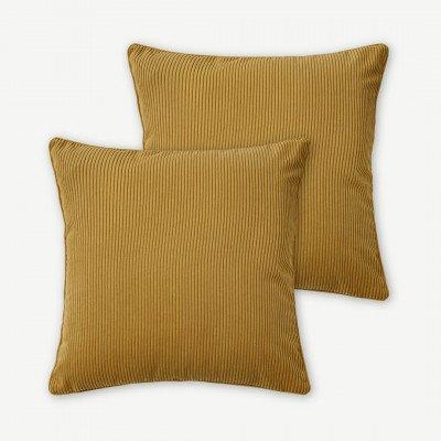 MADE.COM Selky set van 2 kussen van ribfluweel, 50 x 50cm, mosterdgeel