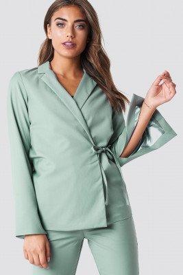 NA-KD Classic NA-KD Classic Open Sleeve Overlap Blazer - Green