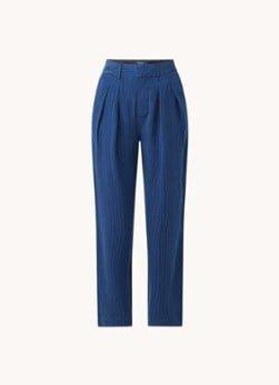 Scotch en Soda Scotch & Soda High waist straight fit pantalon van lyocell met streepprint