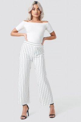 Rut&Circle Culotte Stripe Pant - White