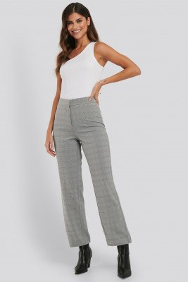 NA-KD Classic Cropped Straight Suit Check Pants - Grey