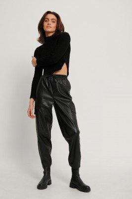 NA-KD Trend NA-KD Trend Pu-Broek Met Elastische Taille - Black