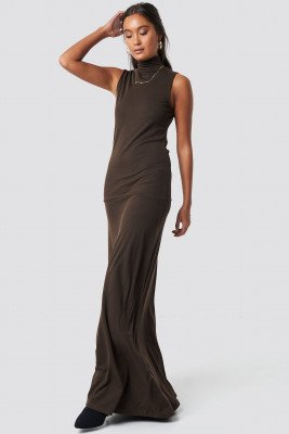NA-KD Trend NA-KD Trend Maxi Polo Rib Dress - Brown