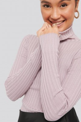 NA-KD NA-KD Ribbed Detail Knitted Polo Sweater - Purple