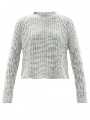 Matchesfashion Brock Collection - Sophie Rib-knitted Cashmere Sweater - Womens - Light Blue