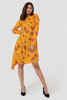 NA-KD NA-KD Asymmetric Long Sleeve Frill Dress - Multicolor