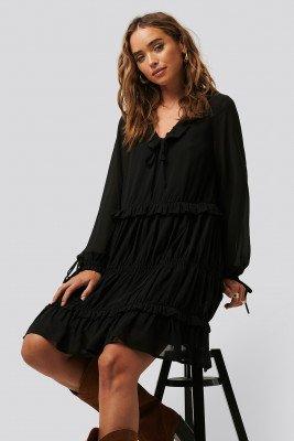 NA-KD Boho NA-KD Boho Multi Frill Flowy Mini Dress - Black