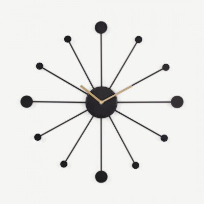 MADE.COM Sputnik grote wandklok, zwart