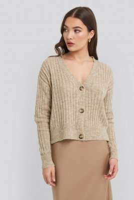NA-KD NA-KD Button Up Ribbed Cropped Cardigan - Beige