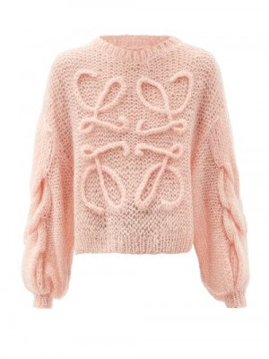 Matchesfashion Loewe - Cabled-anagram, Mohair-blend Sweater - Womens - Light Pink