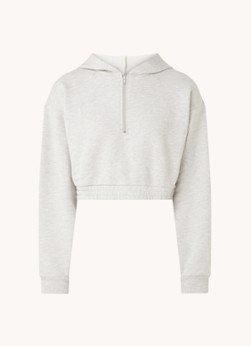 NA-KD NA-KD Cropped hoodie met halve rits