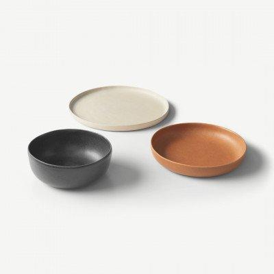 MADE.COM Ingram 12-delige serviesset, ivoor grijsbruin en terracotta