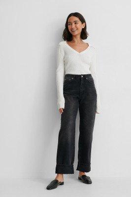 NA-KD Reborn NA-KD Reborn Organisch Rechte High Waist Jeans - Black