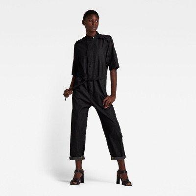 G-Star RAW Short Sleeve Workwear Jumpsuit - Zwart - Dames