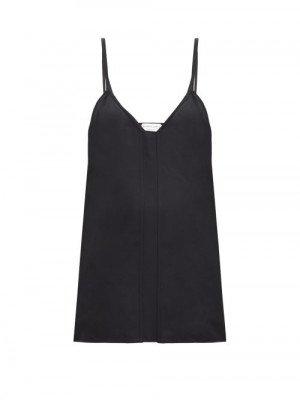 Matchesfashion Bottega Veneta - V-neck Crepe Cami Top - Womens - Black