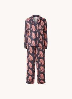 Desmond en Dempsey Desmond & Dempsey Tiger pyjamaset van biologisch katoen met print