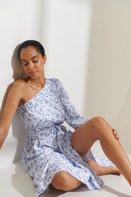 Curated Styles Curated Styles Jurk Met Één Mouw - Multicolor