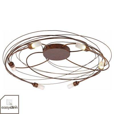 PAUL NEUHAUS Plafondlamp Nelia met LED 6-lamps Ø 60 cm roest