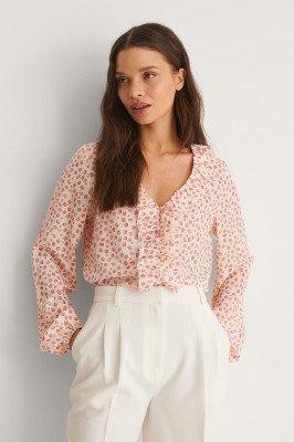 NA-KD NA-KD Gerecycleerd LS-blouse Met V-hals - Red