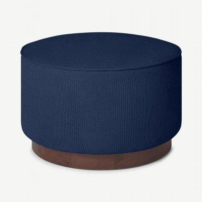 MADE.COM Hetherington grote poef met houten onderkant, middernacht blauw touw en donkergebeitst hout