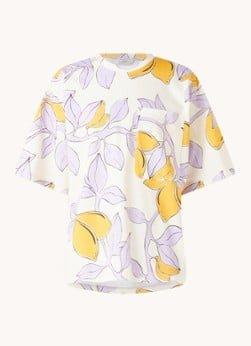 STINE GOYA STINE GOYA Katalina T-shirt van biologisch katoen met print en borstzak