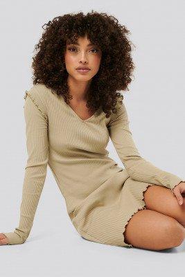 NA-KD NA-KD Ribbed V Neck Shoulder Detail Dress - Beige