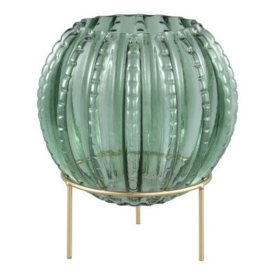 Firawonen.nl Normandy green cactus glass vase on gold stand l
