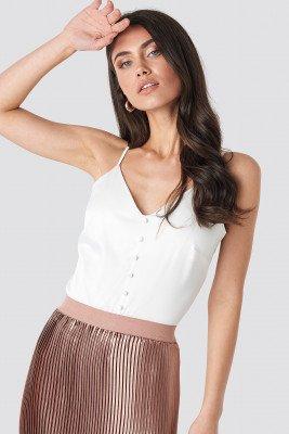NA-KD NA-KD Button Satin Cami top - White