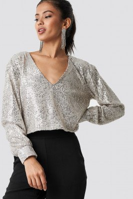 Hannalicious x NA-KD Hannalicious x NA-KD Oversized Wide Neck Sequin Blouse - Silver