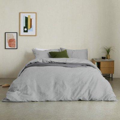 MADE.COM Tira dekbedset van katoen en linnen met 2 kussenhoezen, tweepersoonsbed, grijs