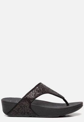 FitFlop FitFlop Lulu Toe Post Glitter slippers zwart