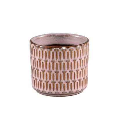Ptmd tenzin roze geglazuurd keramiek geblokte pot