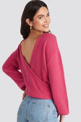 NA-KD NA-KD V-Neck Back Overlap Knitted Sweater - Pink