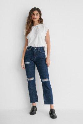 NA-KD Reborn NA-KD Reborn Organisch Jeans Met Hoge Taille En Gescheurde Knieën - Blue