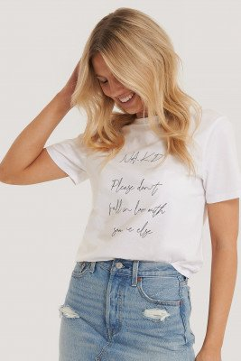 NA-KD Reborn Organisch T-shirt Met Print - White