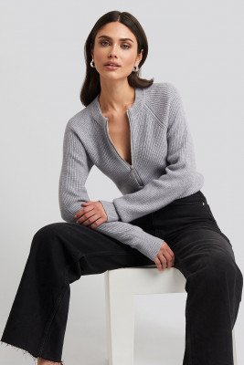 NA-KD Zipper Front Knitted Sweater - Grey