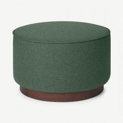 MADE.COM Hetherington grote poef van hout, Mourne groen en donkergebeitst hout
