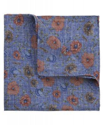 Profuomo Profuomo heren blauw bloemenprint pochet