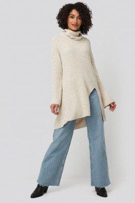 Trendyol Trendyol Front Slit Turtleneck Knitted Tunic - Beige