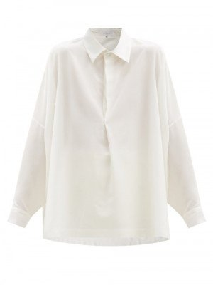 Matchesfashion Eskandar - Drop-shoulder Silk-crepe Blouse - Womens - White