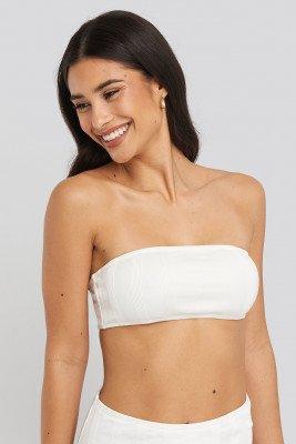 NA-KD Swimwear NA-KD Swimwear Wide Ribbed Bandeau Top - White