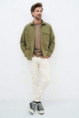 Kuyichi Andrew Overshirt Flanel - Light Olive - L