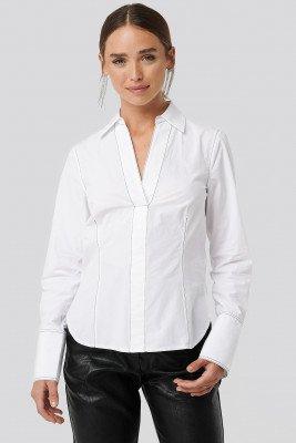 NA-KD NA-KD Shirt Met Stiksels - White
