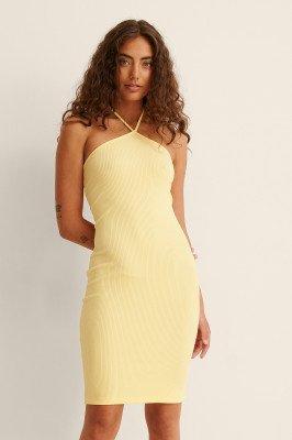NA-KD NA-KD Geribbeld Halternek-mini-jurk - Yellow