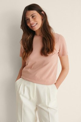NA-KD Basic NA-KD Basic T-Shirt Van Biologisch Katoen Met Ronde Hals - Pink